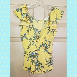Summer Floral Blouse, yellow and blue
